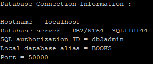 db2 CLP tool connect result