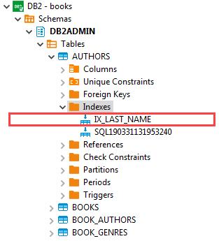 Db2 CREATE INDEX - index on last name column